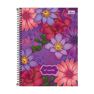 Caderno Le Vanille Roxo - Flores - 10 Matérias - Tilibra