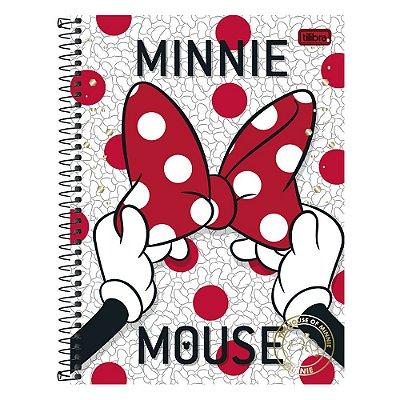 Caderno Minnie Mouse Poá - 1 matéria - Tilibra