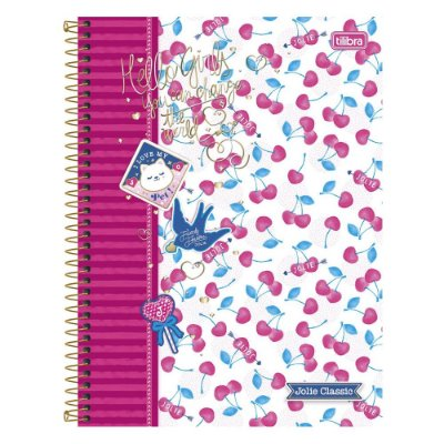 Caderno Jolie - Cerejinhas -  10 Matérias - Tilibra