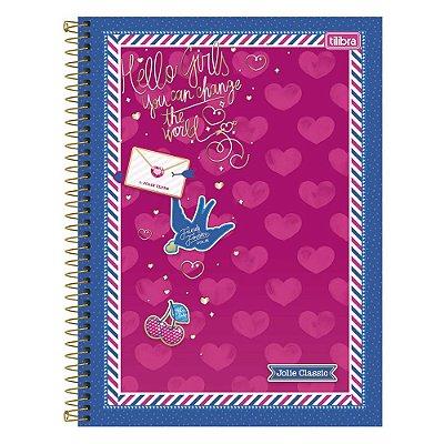 Caderno Jolie - Corações -  10 Matérias - Tilibra