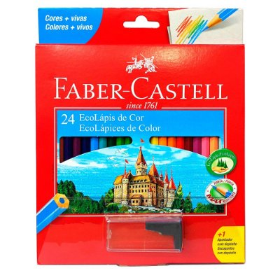 Lápis de Cor Sextavado Faber Castell - 24 cores + Apontador