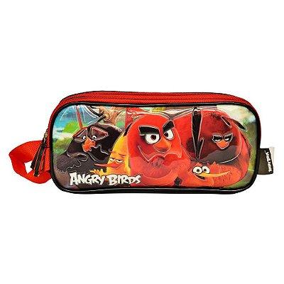 Estojo Duplo Angry Birds - Preto e Vermelho - Santino