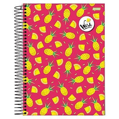 Caderno Wish - Abacaxis Amarelos - 10 Matérias - Jandaia
