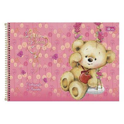 Caderno de Desenho - Ursinho Rosa  - 96 Folhas - Tilibra
