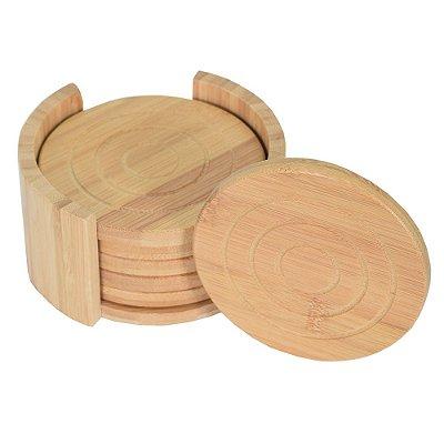 Conjunto de Porta Copos em Bambu - 7 Peças - Tyft