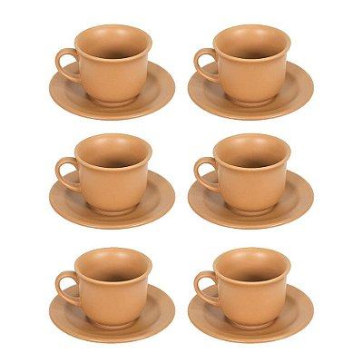 Jogo de Xícaras de Chá 12 Peças - Terracota - Biona