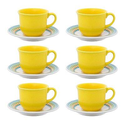 Jogo de Xícaras de Chá 12 Peças - Floreal Bilro - Oxford