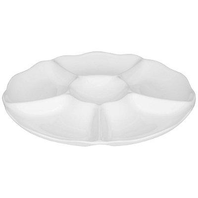 Petisqueira em Porcelana 30cm Branca - 6 Divisórias - Oxford