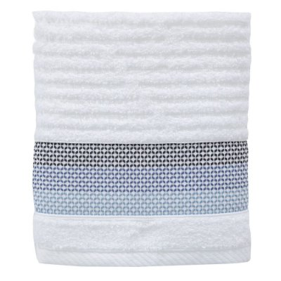 Toalha de Rosto Le Bain Detroit - Branco e Azul - Artex