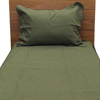 Kit Colcha Barroque Solteiro - Verde Militar - Camesa