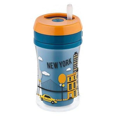 Copo Infantil Fun Cup - New York - Azul e Laranja - NUK