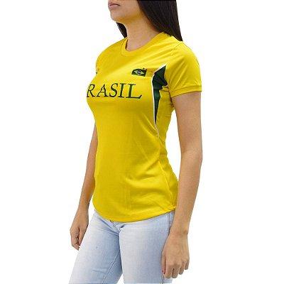 Camiseta Feminina Brasil - Detalhada - Elite