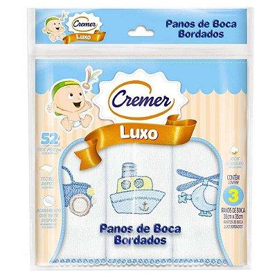 Panos de Boca Luxo Bordado Menino - 3 unidades - Cremer