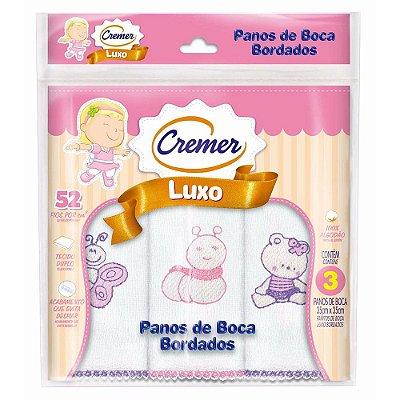 Panos de Boca Luxo Bordado Menina - 3 unidades - Cremer