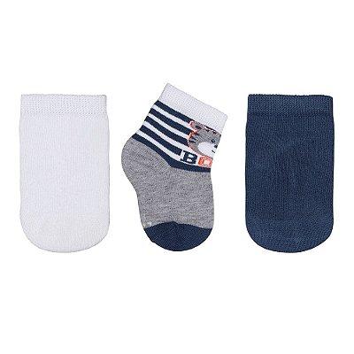 Kit de Meias Baby - 3 Pares - Ursinho Boys - Branco e Azul - Lupo
