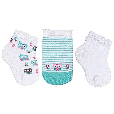 Kit de Meias Baby - 3 Pares - Corujinhas - Branco e Verde - Lupo