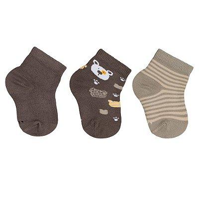 Kit de Meias Baby - 3 Pares - Ursinho - Marrom - Lupo