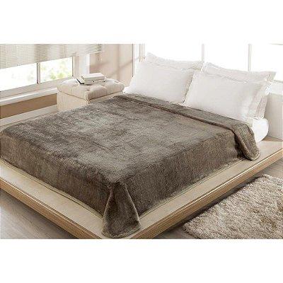 Cobertor Casal Microfibra Kyör Raschel Liso - Marrom - Jolitex