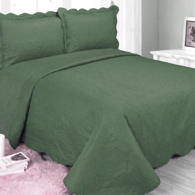 Kit Colcha Barroque Queen - Verde Militar - Camesa