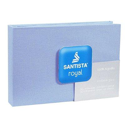 Lençol Com Elástico Prata Solteiro Liso - Azul - Santista