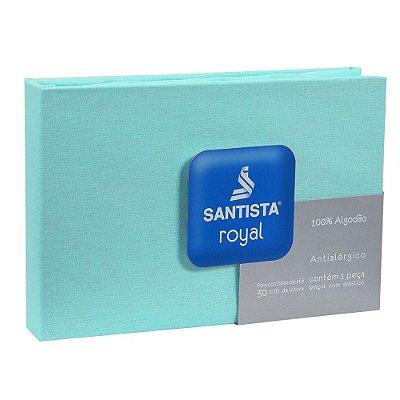 Lençol Com Elástico Prata Casal Liso - Azul Claro - Santista