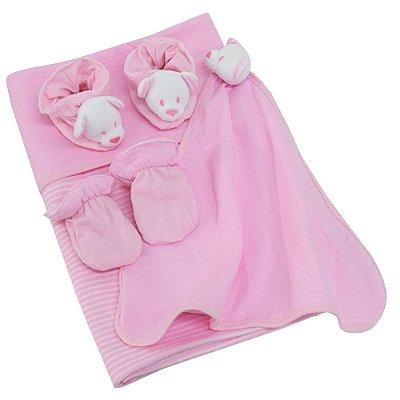 Kit Presente Baby - 4 Peças - Ursinha Rosa - Zip Toys