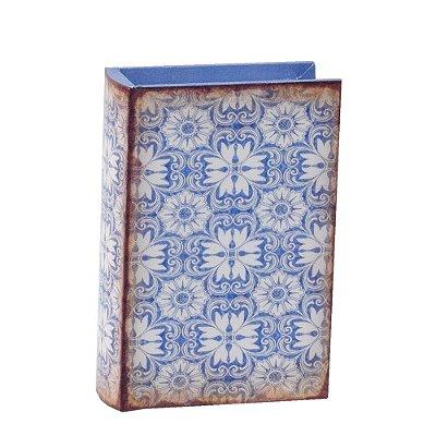 Livro Caixa Decorativa Pequena - Ladrilhos Azul - Mart