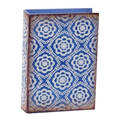 Livro Caixa Decorativa Média - Ladrilhos Azul - Mart