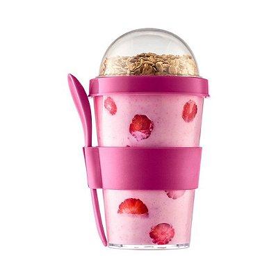 Iogurteira Com Colher 350ml - Rosa - Sanremo