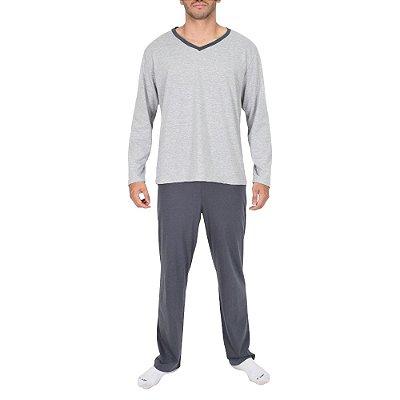 Pijama Masculino Manga Longa - Cinza - Lupo