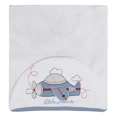 Toalha de Banho Com Capuz - Avião Branco - Bicho Molhado