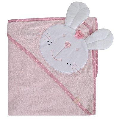 Toalha de Banho Com Capuz - Coelhinha Rosa - Bicho Molhado