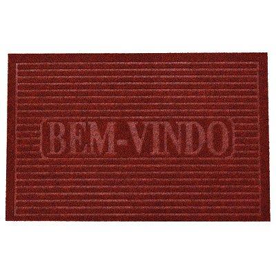Capacho Bem-Vindo - 38 x 58 cm - Vermelho - Camesa