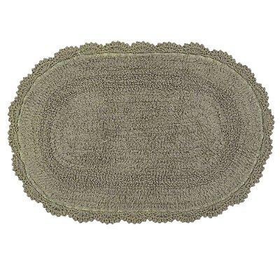 Tapete Oval de Crochê 40cm x 60cm - Madeira - Kacyumara