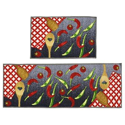 Jogo de Tapetes Para Cozinha Bistrô - 2 Peças - Malagueta - Color Art