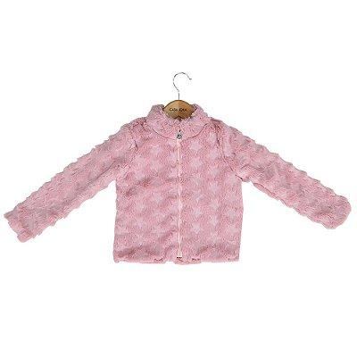 Casaco de Pelo Infantil Estrelas - Rosa - Momi