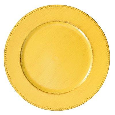 Conjunto Sousplast 33cm - 2 peças - Amarelo - Mimo Style