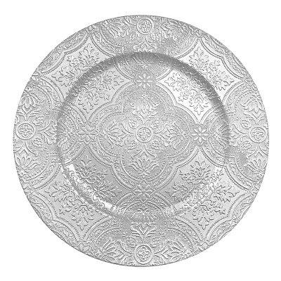 Conjunto Sousplast 33cm - 2 peças - Prata Luxo - L'Hermitage