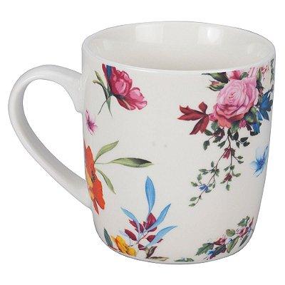 Caneca Flowery 340ml - Rosa e Laranja - Dynasty