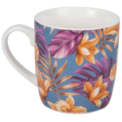 Caneca Flowery 340ml - Azul e Laranja - Dynasty