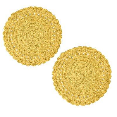 Conjunto Americano Crochê - 2 peças - Amarelo - Mimo Style