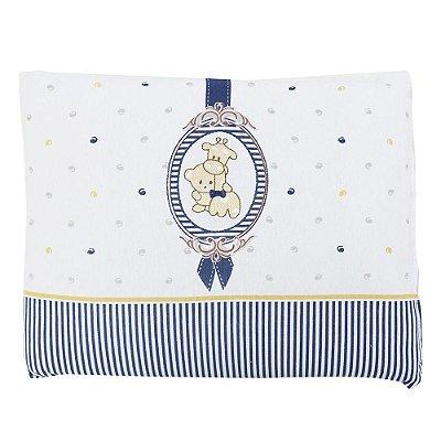 Travesseiro de Malha Bordado - Camafeu Azul - Colibri