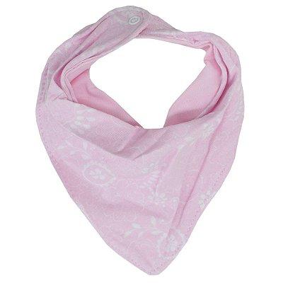 Babador Bandana Dupla Face - Floral Rosa - Colibri