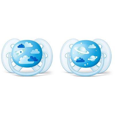 Kit de Chupetas Ultra Soft - 6 à 18 meses - Nuvens Azul - Philips Avent
