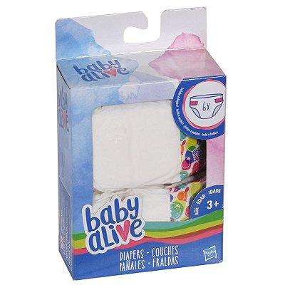 Fraldas para Boneca Baby Alive - 6 unidades - Hasbro