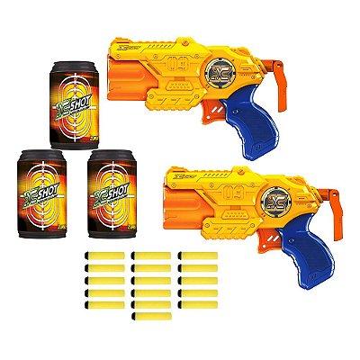 Lançador de Dardos X Shot 2x Barrel Breaker TK-3 Com Alvos - Amarelo - Candide