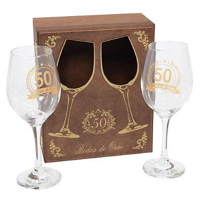 Jogo de Taças de Vinho - Bodas de Ouro - Vikos