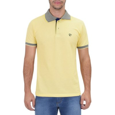 Camisa Polo Masculina Piquet Gola Contraste - Amarela - Wayna