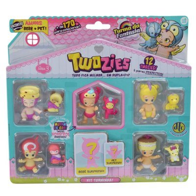 Twozies Blister Kit com 12 Personagens - Série 3 - Molly e Trolly - DTC