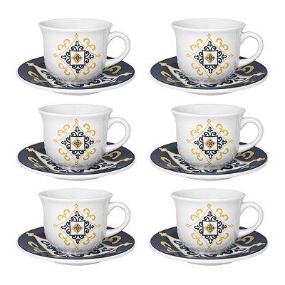 Jogo de Xícaras de Chá Floreal São Luís - 12 Peças - Oxford